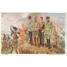 Postcard of emperors and kings watchind to an army marching past