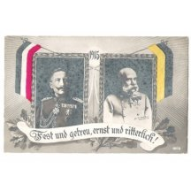 Franz Joseph and Wilhelm , with flags