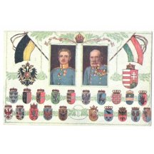 Franz Joseph and Carl with coats of arms of Austrian countries