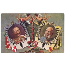 Franz Joseph and Wilhelm with flags