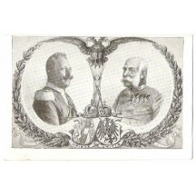 Franz Joseph and Wilhem with king crowns and coats of arms
