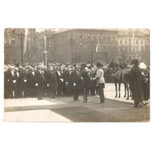 Councillors in the crowd pay tribute to Franz Joseph