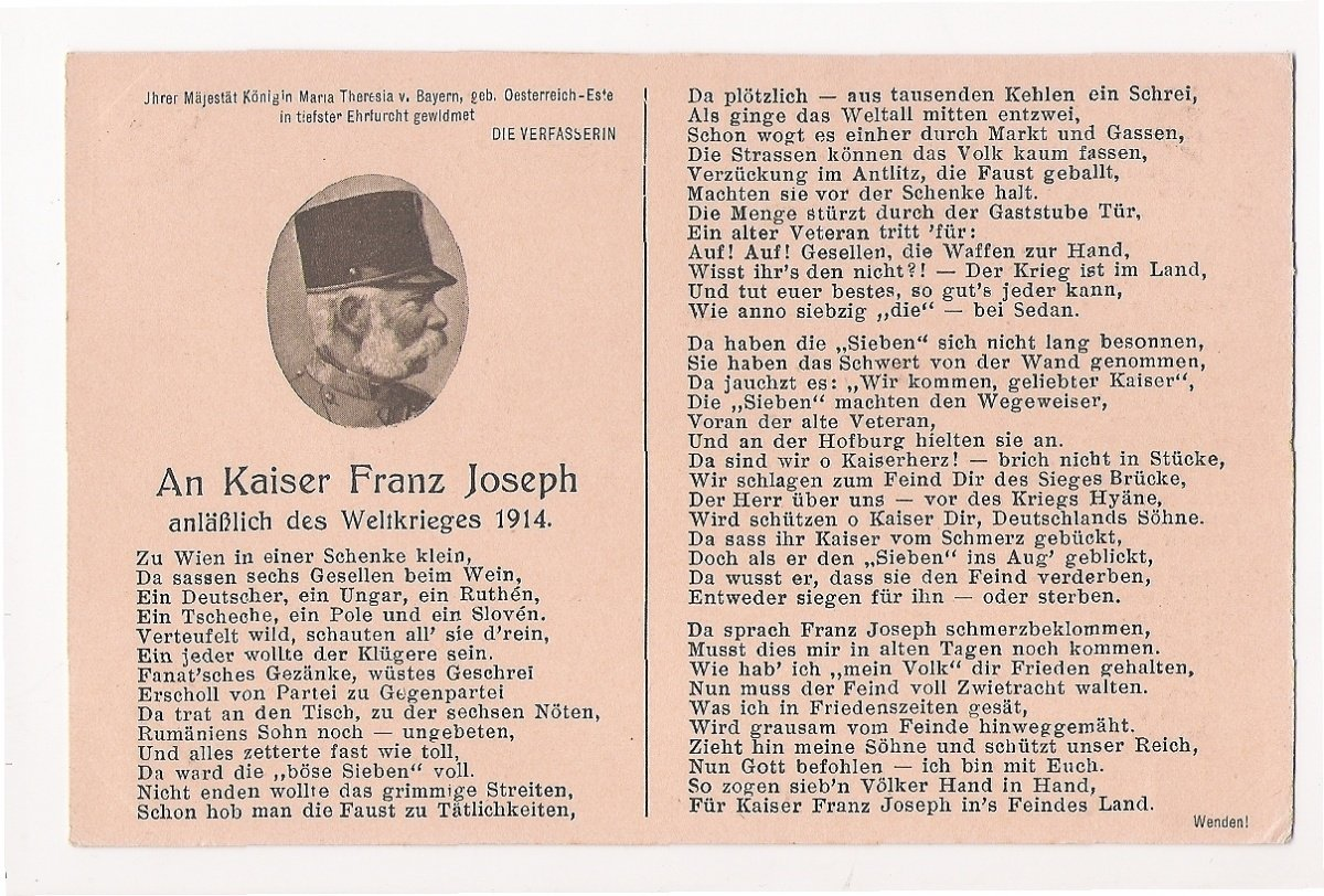 Franz Joseph with cap , two - page text of book