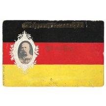 Část písně na německé vlajce s portrétem Franz Josefa