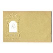 Světle hnědá pohlednice s bílým portrétem císaře