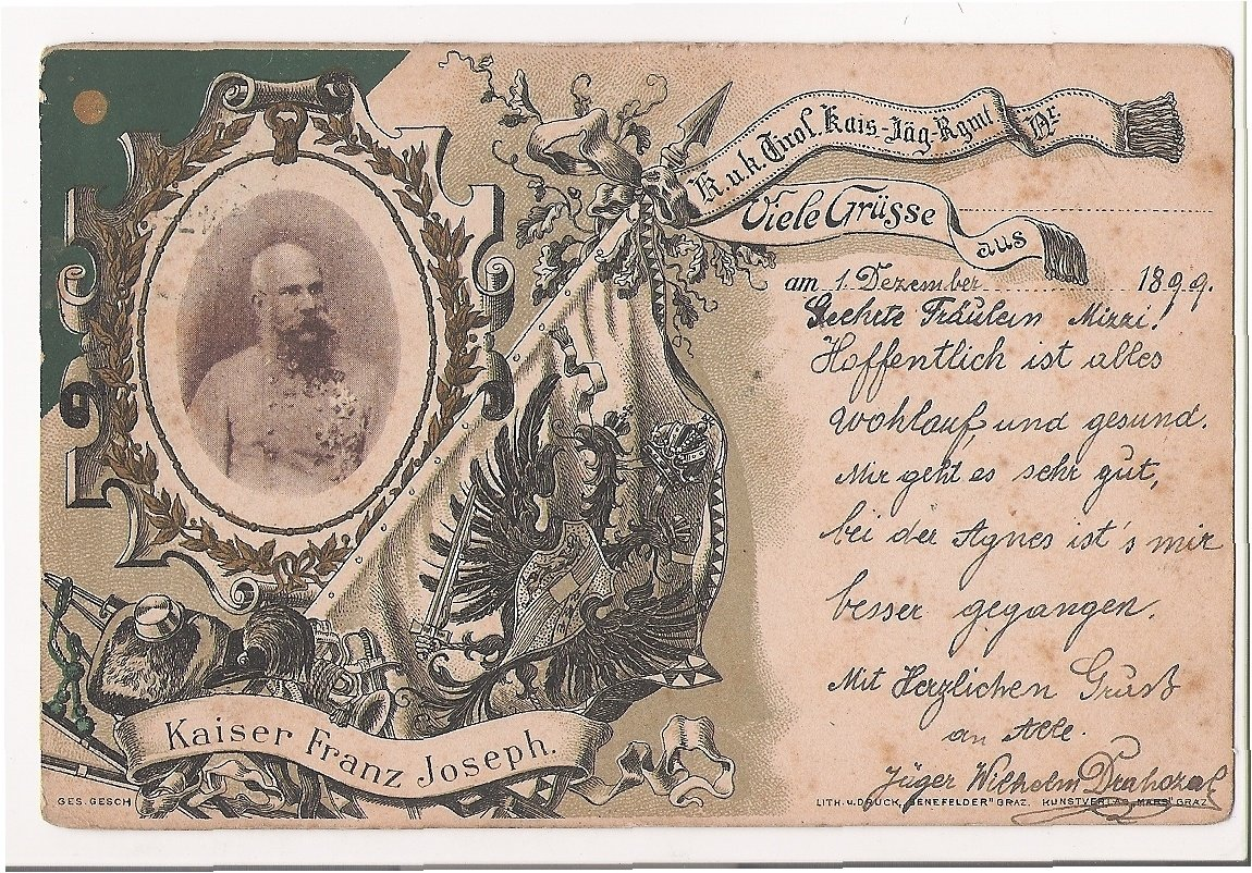Franz Joseph , many greetings from December 1st 1899
