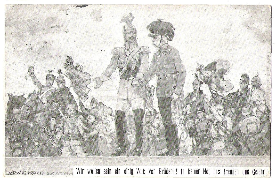 Franz Josef a Wilhelm pozorují jásající vojáky