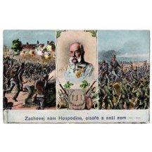 Pohlednice Franz Josefa a válečná vřava- česká verze popisu