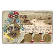 Myslowitz , coins of three emperors and decorated coat of arms , text in german