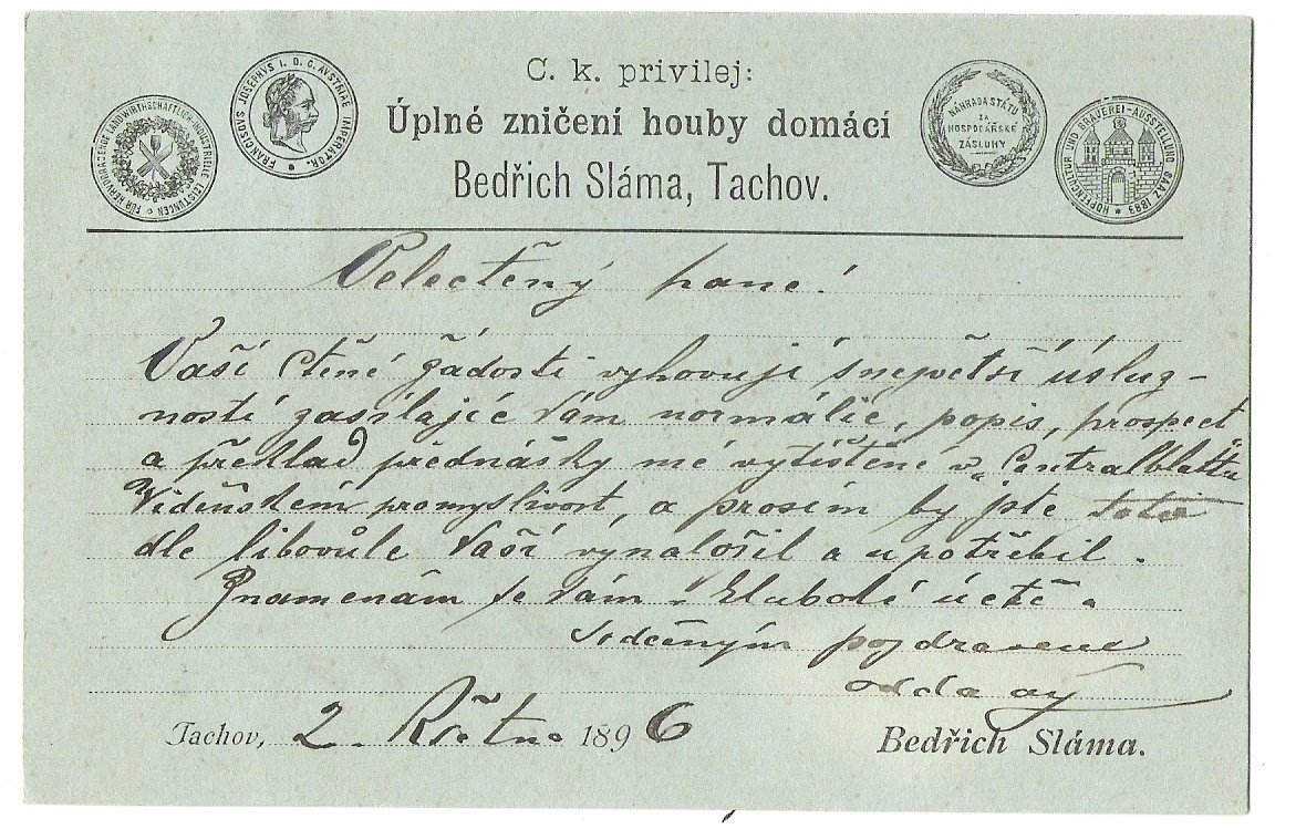 Business card with medals of Franz Joseph , Tachov