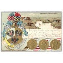 Myslowitz, mince tří císařů a ozdobný erb, s psaným textem