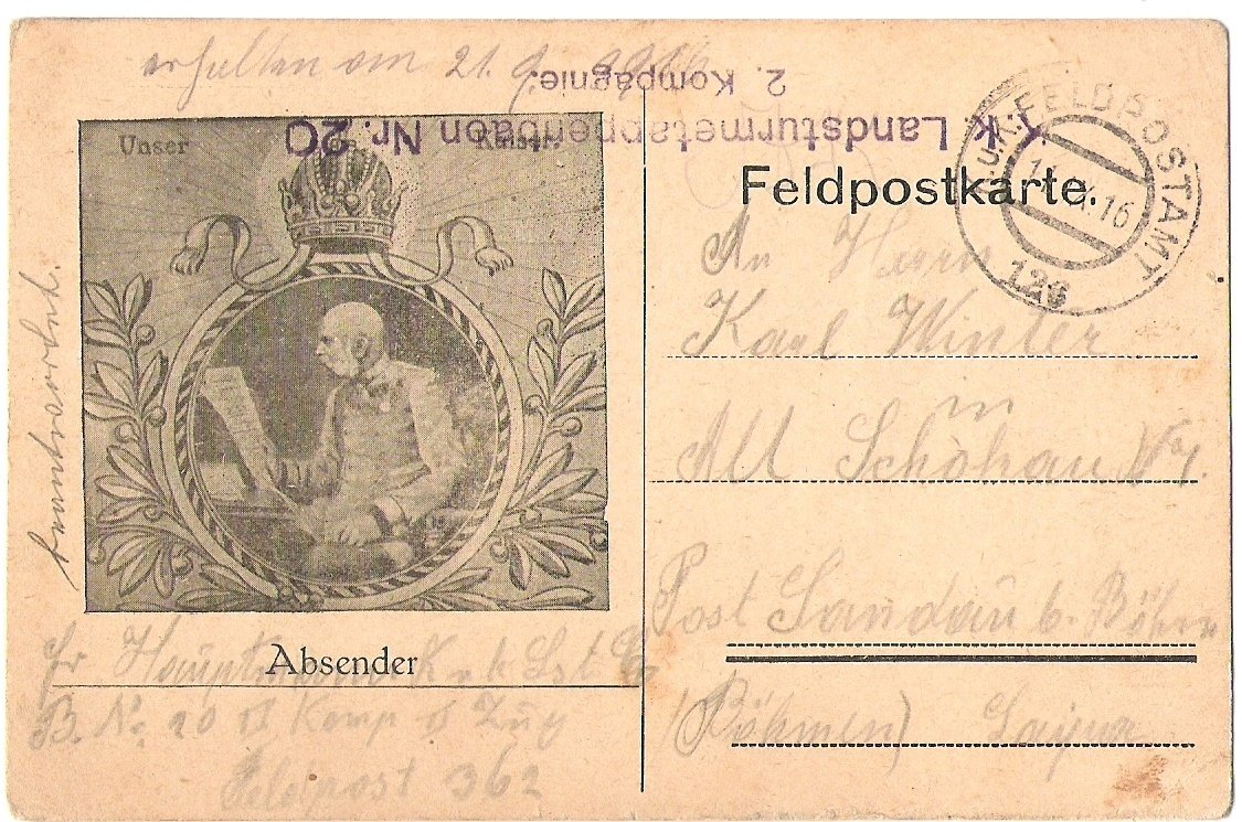 Polní lístek s portrétem Franz Josefa