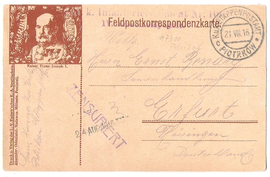Korespondenční Feldpostkarte s portrétem F.J.- Viribus Unitis