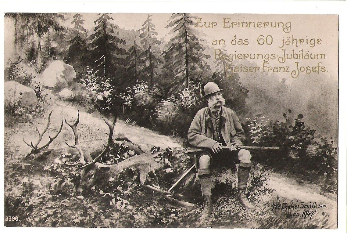 Franz Josef a jeho trofejní střílení jelena- k 60.narozeninám