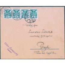 Dofrankovaný dopis 4páskou 25 hal, Turnov - Plzeň