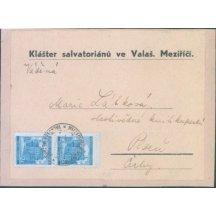 Výstřižek z balíku, klášter salvatoriánů ve Val.Meziříčí do Plzně
