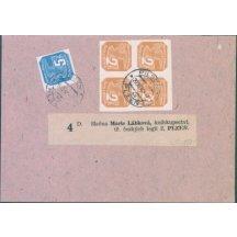 Výstřižek z balíku, frankováno známkou 5h a čtyřblokem 2h