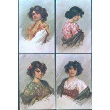 Umělecká pohlednice – žena – 4 ks