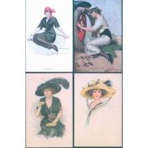 Žena v klobouku – 4 ks